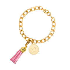 Classic Small Charm Bracelet - With Initial and Tassel - Light Pink
