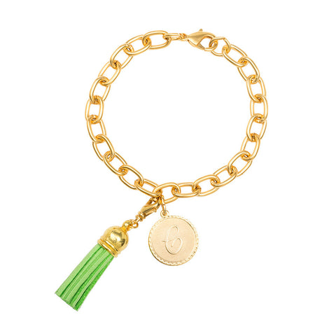 Classic Small Charm Bracelet - With Initial and Tassel - Lime