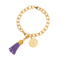 Classic Small Charm Bracelet - With Initial and Tassel - Purple