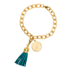 Classic Small Charm Bracelet - With Initial and Tassel - Teal