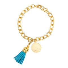 Classic Small Charm Bracelet - With Initial and Tassel - Turquoise