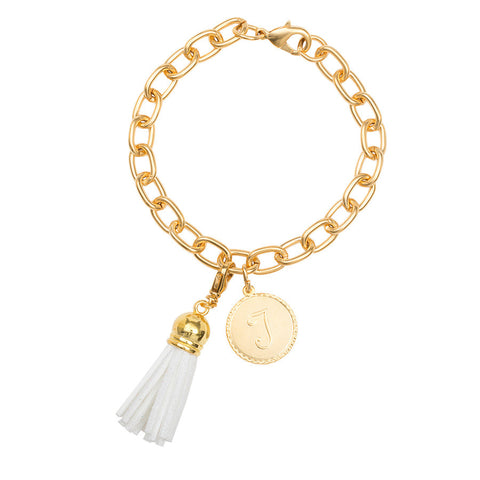 Classic Small Charm Bracelet - With Initial and Tassel - White