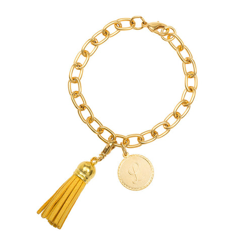 Classic Small Charm Bracelet - With Initial and Tassel - Gold