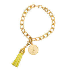 Classic Small Charm Bracelet - With Initial and Tassel - Bright Yellow