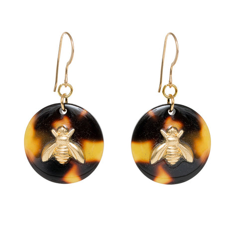 Tortoise Dangle Enamel Charm Earrings - Bee
