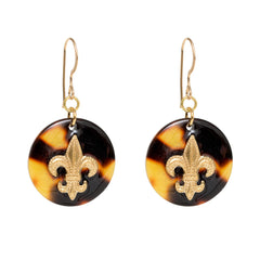Tortoise Dangle Enamel Charm Earrings - Fleur De Lis