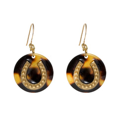 Tortoise Dangle Enamel Charm Earrings - Horseshoe