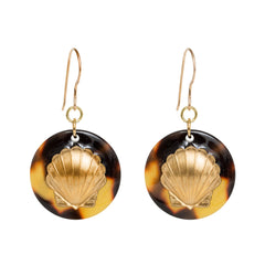 Tortoise Dangle Enamel Charm Earrings - Scallop