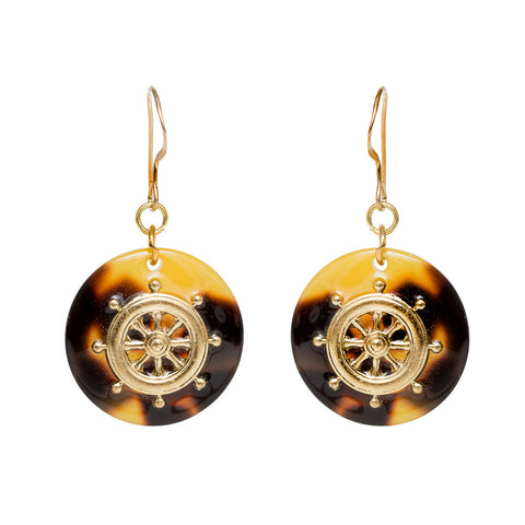 Tortoise Dangle Enamel Charm Earrings - Ships Wheel