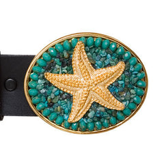 Gold Charm Turquoise Starfish Buckle