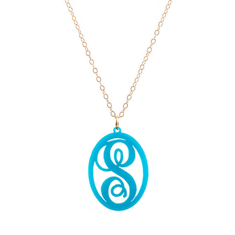 Charm Oval Acrylic Initial Necklace  - Large Turquoise