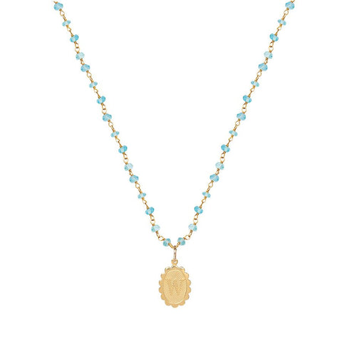 Charm Scallop Initial Necklace - Apatite Layering Chain