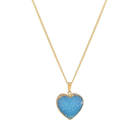 Drusy Heart Necklace - Blue