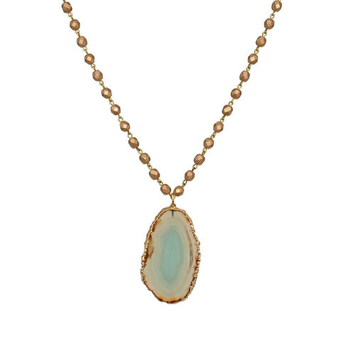 Agate Matte Gold Nugget Beaded Necklace - Green