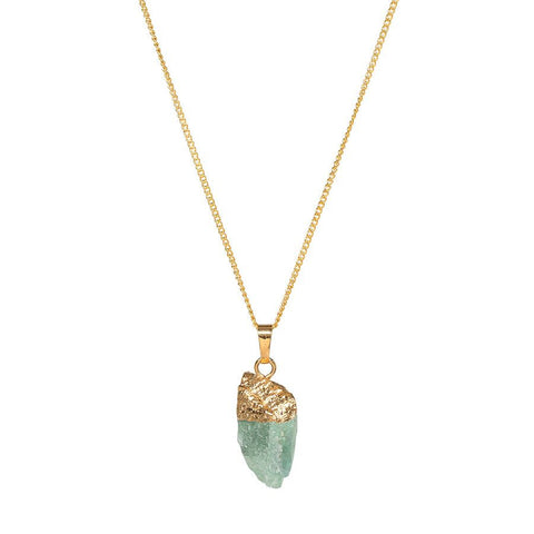 Crystal Point Gold Dipped Necklace - Fluorite
