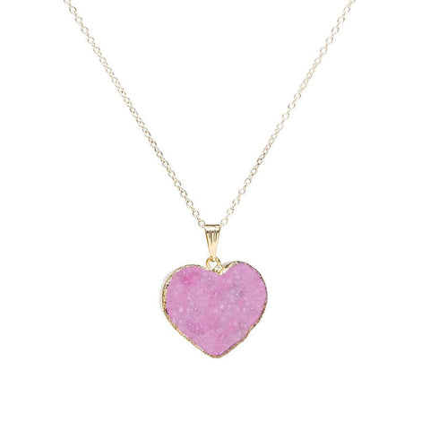 Drusy Heart Necklace - Pink