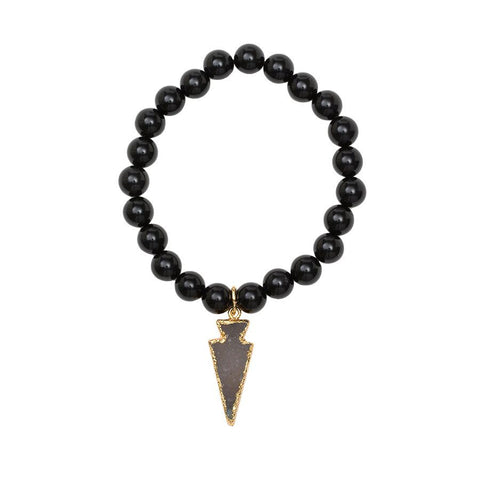 Gemstone Stretch Bracelet with Drusy Arrow - Black Onyx