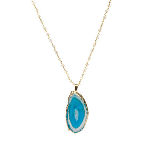 Agate Necklace - Moonstone Chain - Gold Dipped - Blue