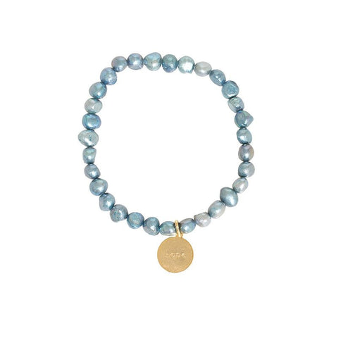 Freshwater Pearl Stretch Word Bracelet - Blue Pearl