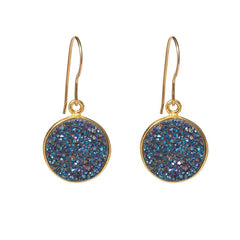 Drusy Dangle Earrings - Blue