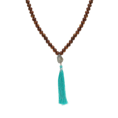 Wooden Bead Necklace with Labradorite Gemstone and Silk Tassel Drop - Turquoise