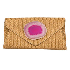 Agate Envelope Straw Clutch - Pink