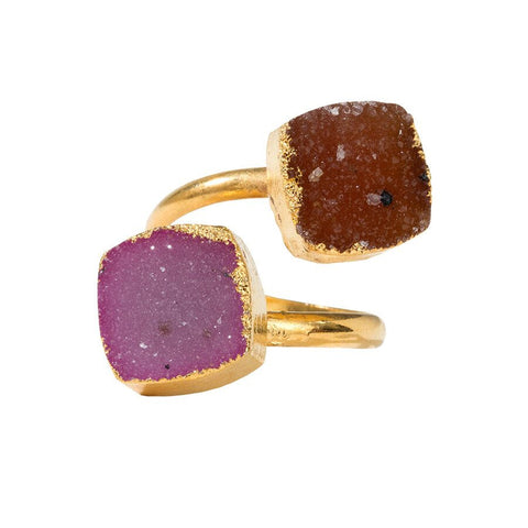 Drusy Squeezy Ring - Square