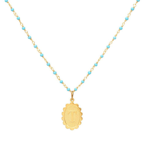 Charm Scallop Initial Necklace - Turquoise Layering Chain