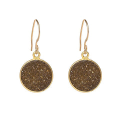 Drusy Dangle Earrings - Bronze