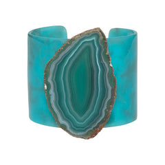 Agate Resin Cuff - Turquoise