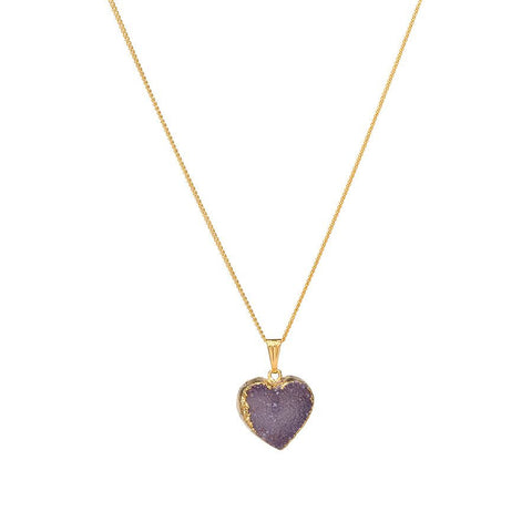 Drusy Heart Necklace - Gray