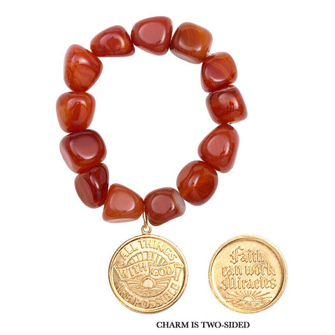 Gemstone Carnelian Nugget Faith/Miracles Charm Bracelet