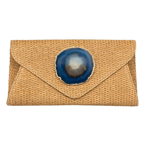 Agate Envelope Straw Clutch - Teal