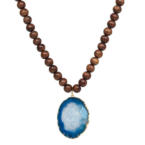Wooden Bead Necklace with Gold Dipped Agate - Teal