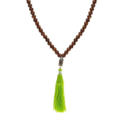 Wooden Bead Necklace with Labradorite Gemstone and Silk Tassel Drop - Lime Green