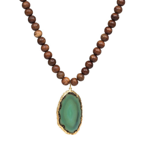 Wooden Bead Necklace with Gold Dipped Agate - Green