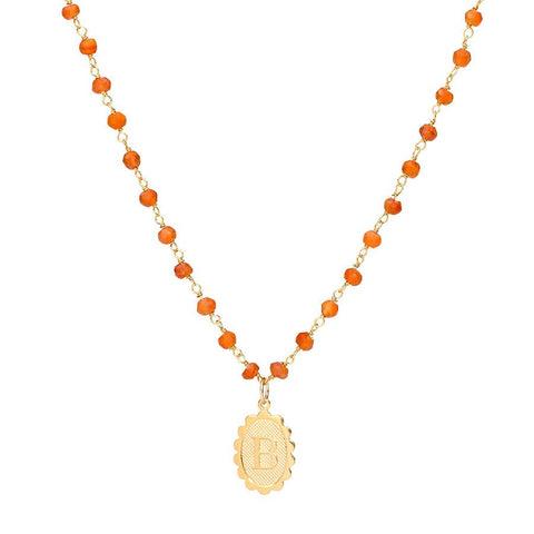 Charm Scallop Initial Necklace - Carnelian Layering Chain