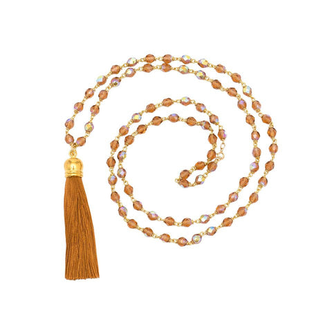Glitter Tassel Necklace - Cognac