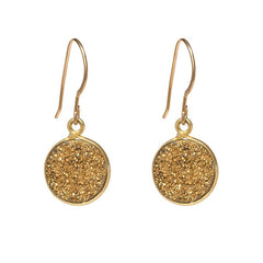 Drusy Dangle Earrings - Gold