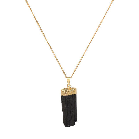 Crystal Point Gold Dipped Necklace - Black Tourmaline