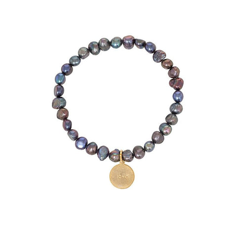 Freshwater Pearl Stretch Word Bracelet - Peacock Pearl