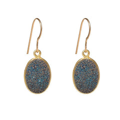 Drusy Dangle Earrings - Oval - Blue