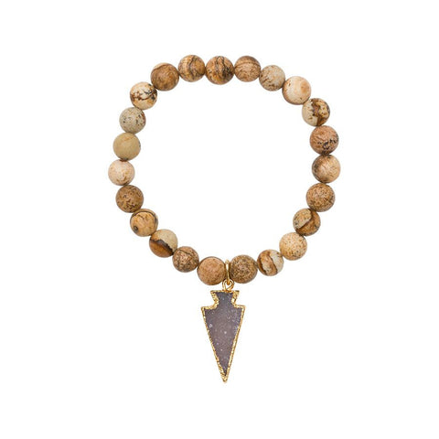 Gemstone Stretch Bracelet with Drusy Arrow - Jasper