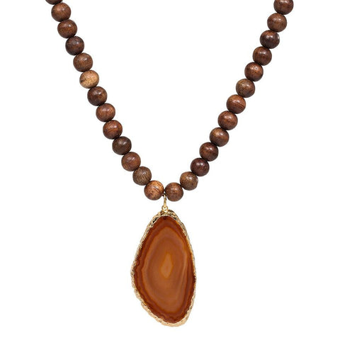 Wooden Bead Necklace with Gold Dipped Agate - Orange
