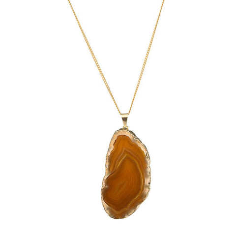 Agate Necklace - Gold Dipped - Natural