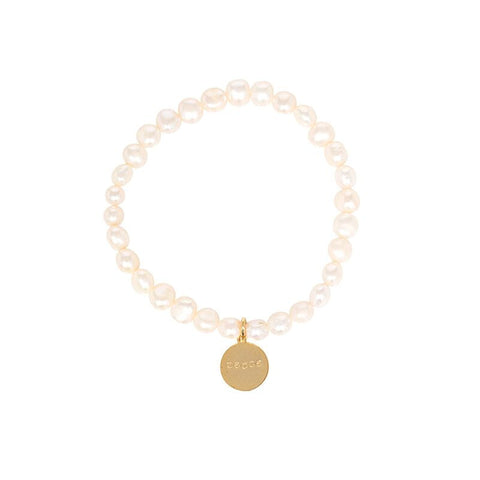 Freshwater Pearl Stretch Word Bracelet - White Pearl