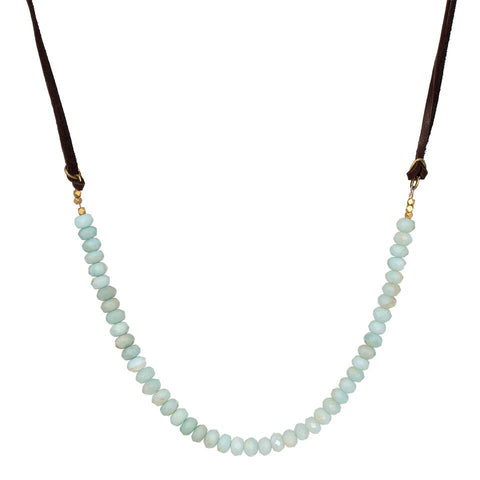 Beaded Rondel Leather Necklace/Choker - Amazonite