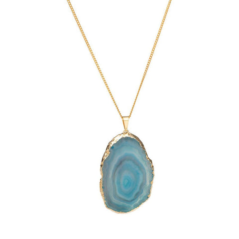Agate Necklace - Gold Dipped - Turquoise