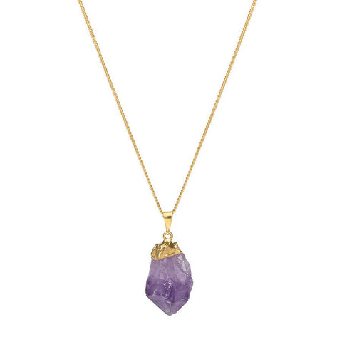 Crystal Point Gold Dipped Necklace - Amethyst