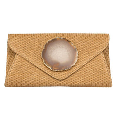 Agate Envelope Straw Clutch - Natural
